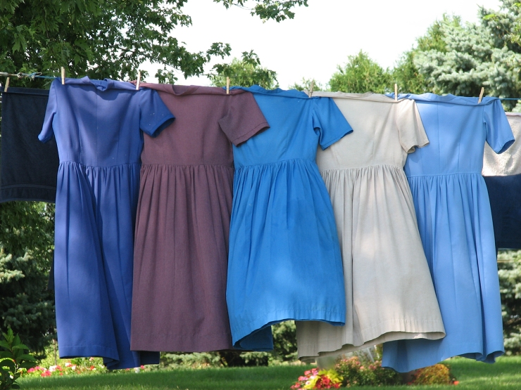 Amish Dresses Drying on a Clothes Line